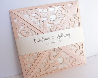Wedding Invitation, Laser Cut Wedding Invitation, Blush Wedding Invite, Lace Wedding Invite, Bohemian Wedding Invite, SQUARE-1 CORAL BLUSH