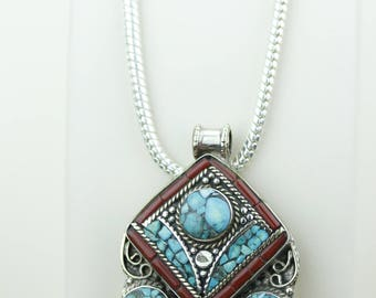 Modern Design Turquoise Coral Native Tribal Ethnic Vintage Nepal Tibetan Jewelry OXIDIZED Silver Pendant + Chain P4367