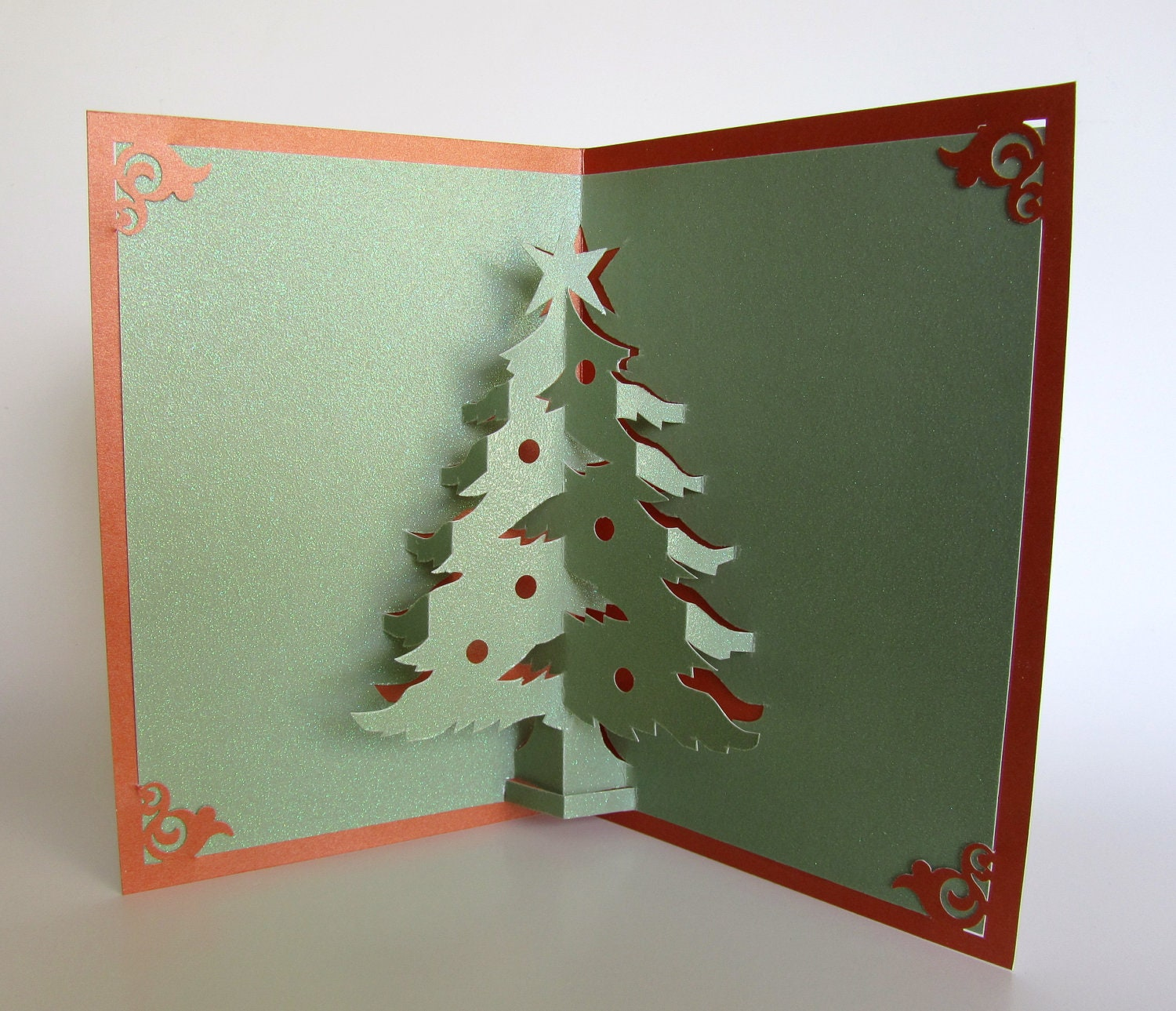Christmas tree pop up up greeting card home dcor 3d handmade zoom m4hsunfo Images