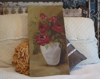 Vintage Oil Painting on Canvas Red Roses Beautiful
