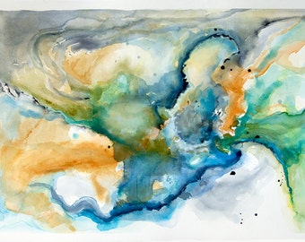 """Large original watercolor abstract painting, 'Star Pool', 26"""" x 36"""" wall art watercolor board by Victoria Kloch"""