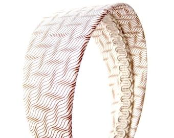 Wide Chevron Headband - Chevron Zig Zags in Brown & Beige