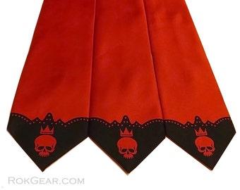 RokGear Neckties - 3 Mens skull neckties print to order in colors of your choice