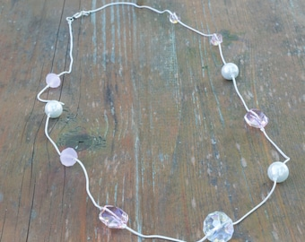 Pink Crystal and 10mm Pearl Long Hanging Necklace on Silver Cord