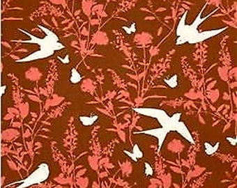 Swallow Rayon Challis Fabric Bungalow Chestnut By the yard