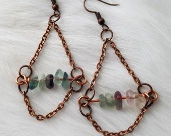 Fluorite earrings, crystal gemstone copper chain earrings, chandelier earrings