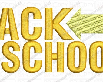 Back to School Back to the Future Style Embroidery Design in 3x3 4x4 and 5x7 Sizes