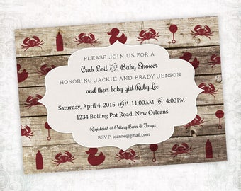 Printable Digital File - Crab Boil Baby Shower Invitation - Customizable - Wood, Rustic, Low Country, Seafood, Cajun, Southern