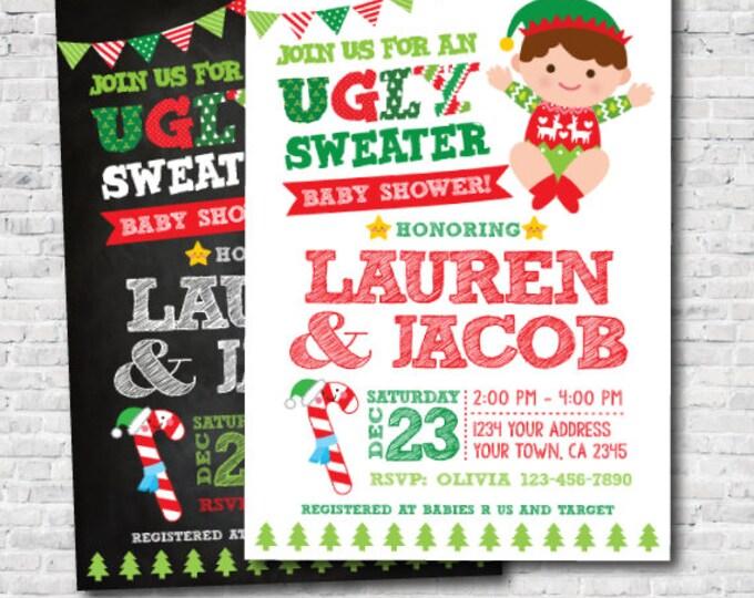 Ugly Sweater Baby Shower Invitation, Holiday Invitation, Christmas Baby Shower, Personalized Invite, Unisex Shower Invitation, DIGITAL