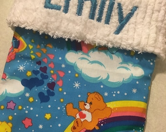 Rainbow Carebears and Chenille Handmade Christmas Stocking with FREE US SHIPPING