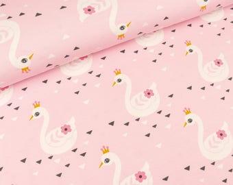Cotton Jersey Swan Princess on light pink (13.20 EUR / meter)