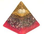Rose Quartz Orgone Pyramid - Spiritual Gift - Feng Shui Decor - Empath Lightworker Protection - Yoga Meditation Aid - Heart Chakra Healing
