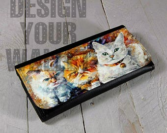 Womens Wallet, cat wallet, cat lover gift, kitties wallet, cat lover, cat lady, wallet, bifold wallet, cute wallet, leather wallet, cat