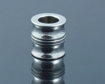 Stainless Steel Large Hole Column Beads.  11x11mm.  Hole 6mm