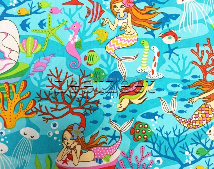 "MERMAID Turquoise Quilt Fabric - Fat Quarter Fq 18"" x 22"" Last Piece Turq Pink Aqua Mermaids Under the Sea Ocean Starfish Fish Turtles"