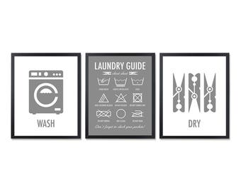 Laundry Symbols Laundry Room Decor Washing symbols Laundry Guide Laundry Instructions Laundry wall Charcoal gray Art Washing labels set of 3