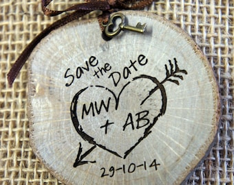 "Wooden Slice - ""Save the Date"" Magnet with decorative key and ribbon."