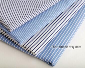 Yarn Dye Pink Blue White Stripe Cotton Fabric - 1/2 Yard