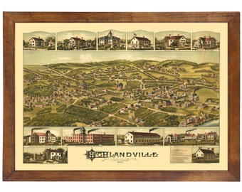 Highlandville, MA 1887 Bird's Eye View; 24x36 Print from a Vintage Lithograph