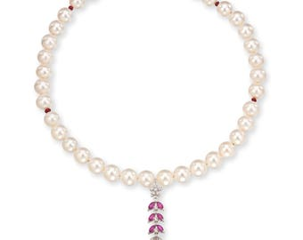 Pearls, Gold Necklace, Ruby, Diamonds,  Hand Made, weddings, precious, designer, gift for her, Valentine's day, smart, stylish, multi color,