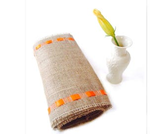 Easter Table Runner with Orange Ribbon - Rustic Chic Table Accessory - Fresh Accent for Your Space