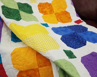 Floral lap quilt, bright colors