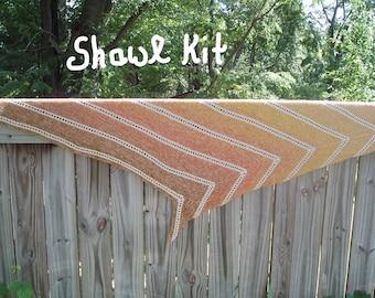Atiru Shawl - SHAWL KIT  -- Color Changing Cotton yarn (200 gr/960 yards)