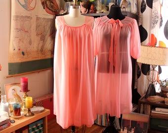 vintage 1960s coral pink chiffon peignoir set Hollywood Vassarette, womens small medium sheer nylon lingerie robe
