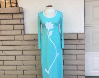 Vintage 70s Hippie Dress Aqua Maxi Dress Floral Applique Dress Size Small