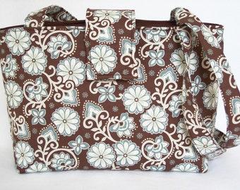 Harmony Aqua and Brown Divider Bag