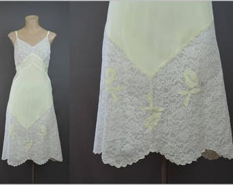 Vintage Yellow Rayon Full Slip Wide White Cotton Lace 34 bust, Bias cut Appliques Lingerie 1940s 1950s Aristocraft