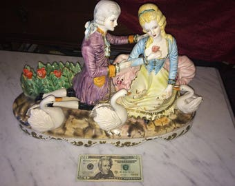 Large Vintage Rare Capodimonte Figurine Courting Couple in Garden with Swans