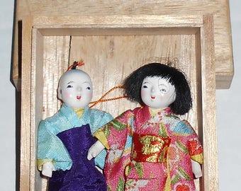 "Vintage 1950s Lilliputian 2 5/8"" Japanese Ichimatsu Gofun Dolls in Orig Wood Box"