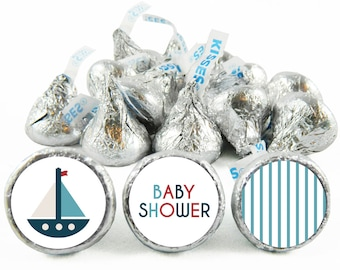Set of 108 - Nautical Boy Baby Shower Stickers for Hershey's Kisses. Nautical Baby Shower Favors - Nautical Kiss Stickers - #IDBBS602