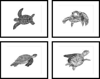 Sea Turtles Pen and Ink Printable Wall Art Set