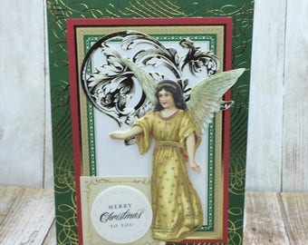 Christmas Card, Handmade Card, Angel Card, Unique Greeting Card, Customizable Christmas Card