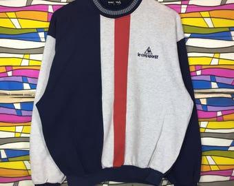 Rare!! Vintage LE COQ SPORTIF Spellout Small Logo Sweatshirt Multicolour