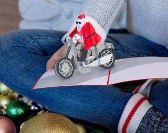 Santa Biker Pop Up Christmas Card, Santa Pop Up Card, Funny Christmas Card, Funny Holiday Card, Christmas, Santa on a Motorcycle, Lovepop