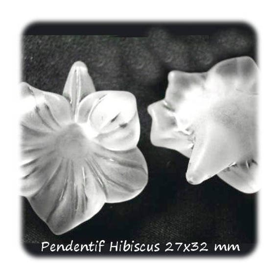 Pendants acrylic flower 27 x 32 mm [FrostedHibiscus] White x 1
