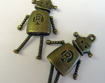 Bronze Robot Charms movable arms, legs and head Two Sided.