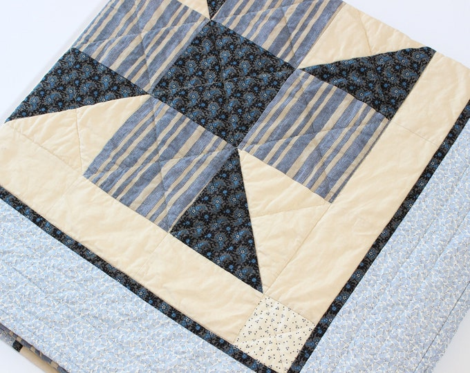 Handmade Blue Quilted Throw Blanket