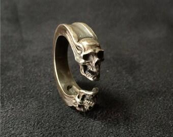 "925 Sterling Silver Ring ""Gemini Skull"""