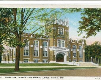 Ball State University Gymnasium Muncie Indiana 1938 postcard