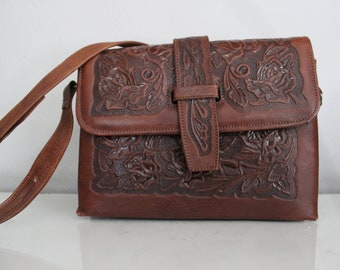 Vintage & Unique Pymsa Genuine Leather Floral Handbag