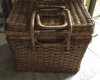 Old Vintage Picnic Basket-Yellow Gingham Fabric Lining