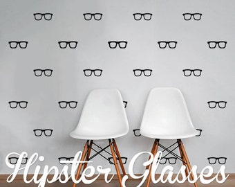 Hipster Glasses Wall Decal Pack, Modern Geometric Pattern Vinyl Wall Stickers WAL-2188