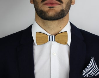Wooden bow tie and pocket bag-BlueStripes