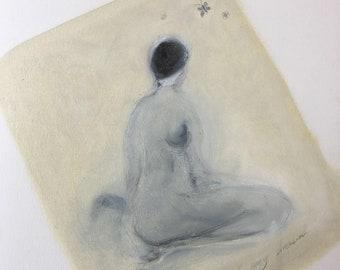 original oil painting,unique ,oil on paper,abstract painting,small size,light,gray,Art Modern,unframed,handmade,kunst,artist