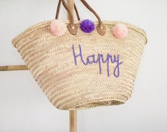 "Very nice wicker basket with ""happy"""