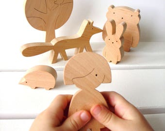 Handmade wooden toy set, Wooden toys, Educational organic toy, Early Development Toys,Wooden Woodland animals,Toy for Girl, Baby shower gift